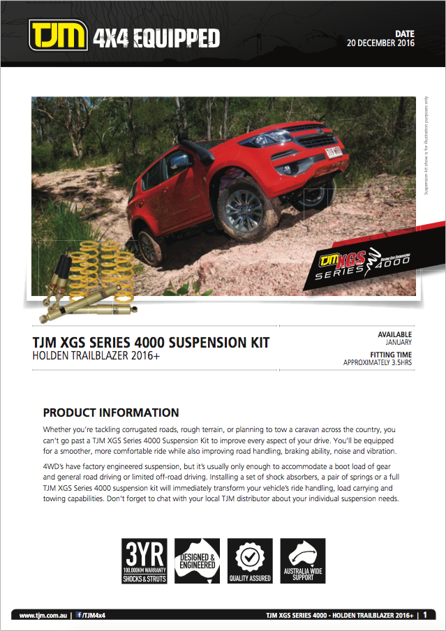 Suspension Raised Kit together with 4311 Holden Trailblazer 2016 Xgs Series 4000 Suspension Kit additionally Xgallery as well Wgallery besides Ds8 Kj09138bk. on tjm xgs 4x4 suspension