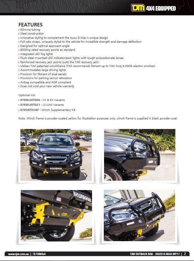 Isuzu D-max MY17 Outback Bar - Latest News - TJM Products NQ